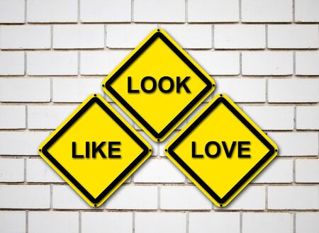 look, like, love sign on  brick wall background photo