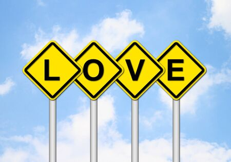 love sign with blue sky background photo