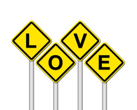 love sign on white background photo