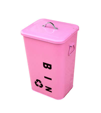 pink bin on white background photo