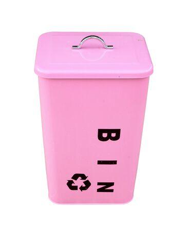 pink bin on white background photo
