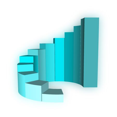 3D Growth bar graph on white photo
