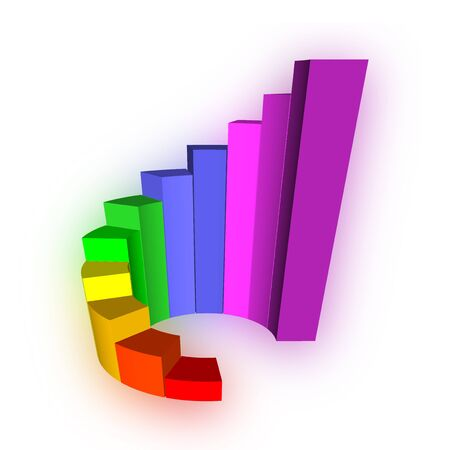 3D Growth bar graph on white Stock Photo - 13868787