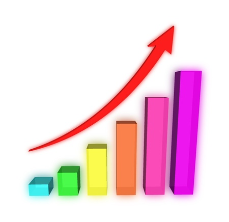 A bars graph, with an arrow going up Stock Photo - 13868825