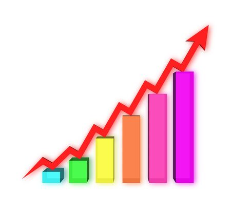 A bars graph, with an arrow going up Stock Photo - 13868796