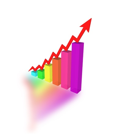 A bars graph, with an arrow going up Stock Photo - 13868791