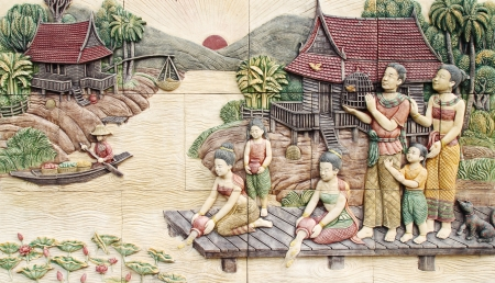 Thai culture stone carving on temple wall Editorial