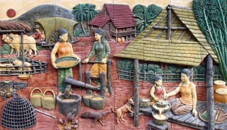 native culture Thai stucco on the temple wall, Thailand Archivio Fotografico