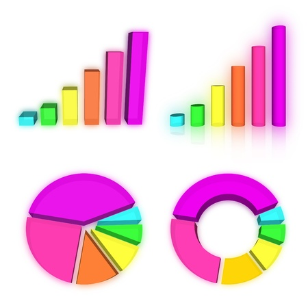 Set of rainbow charts graph photo
