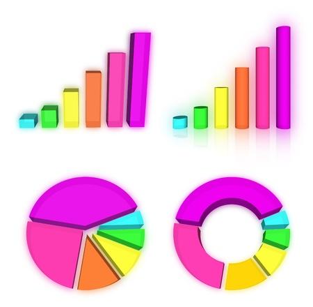 Set of rainbow charts graph photo