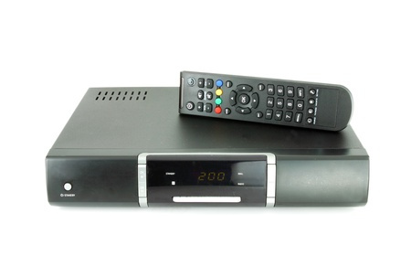 tv panel: remote and receiver for satellite TV on white