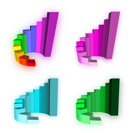 Four 3D Growth bar graph on white photo