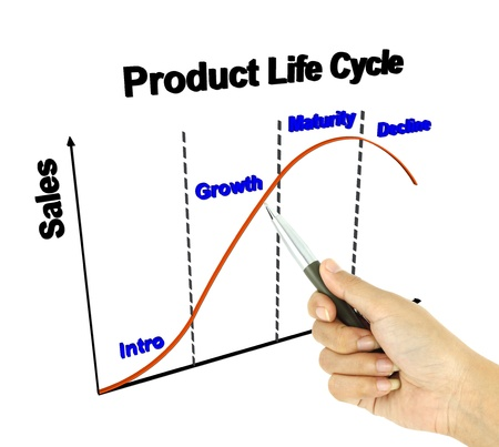 business life line: a pen pointer 3D product life cycle chart (marketing concept)