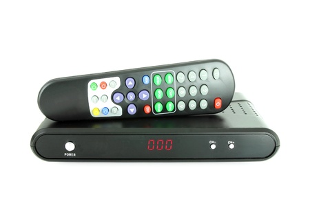 remote and receiver for satellite TV on white 免版税图像 - 14102431
