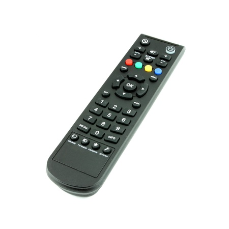 black TV remote control on white background photo
