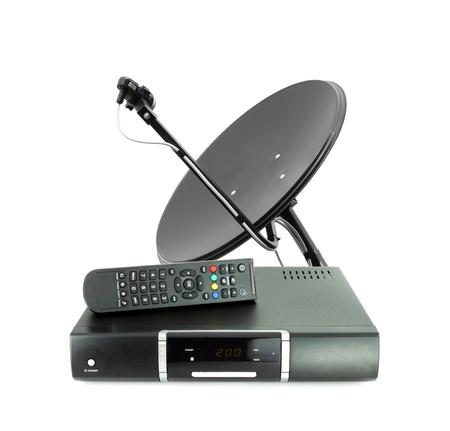 antena parabolica: Juego de recibir a distancia la caja y antena parabólica en el blanco