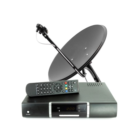 satellite tv: Set of receive box remote and dish antenna on white