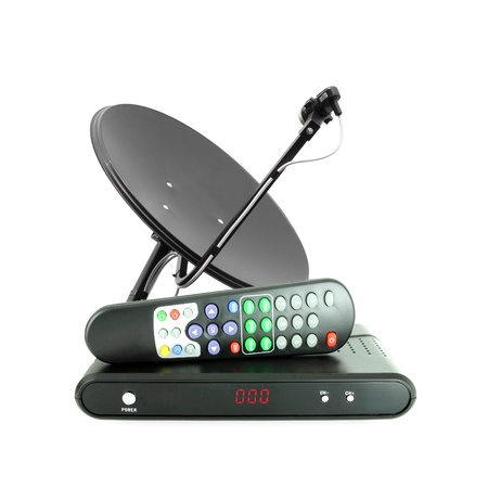 Set of receive box remote and dish antenna on white photo