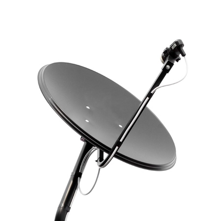 Black  satellite dish on whte background photo
