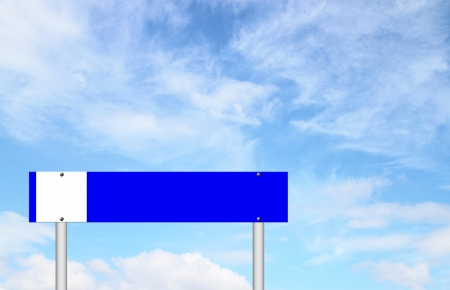 blue sign with blue sky background photo