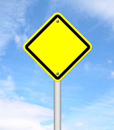 blank yellow traffic sign with blue sky background Stock Photo - 14236283