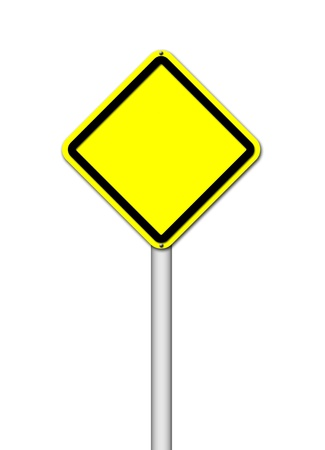 Yellow blank sign on white background photo