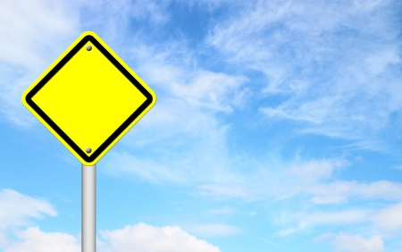 blank yellow traffic sign with blue sky background Stock Photo - 14236295