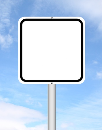 blank sign with blue sky background photo