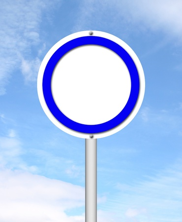 blank circle sign with blue sky background photo