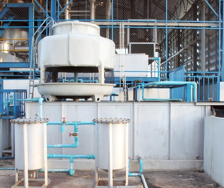 cooling tower: small water cooling tower system in factory Stock Photo