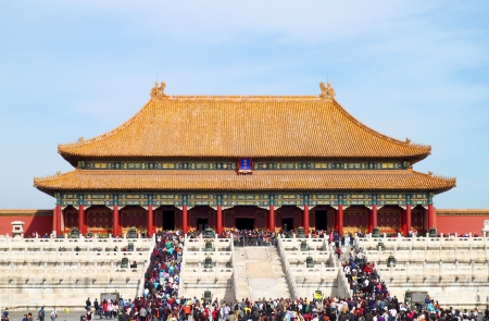 BEIJING, CHINA - OCTOBER 14: Plenty tourists to see the sights of The Forbidden City October 14, 2011 in Beijing, China.