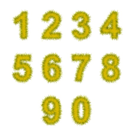 yellow tinsel digits on white background photo