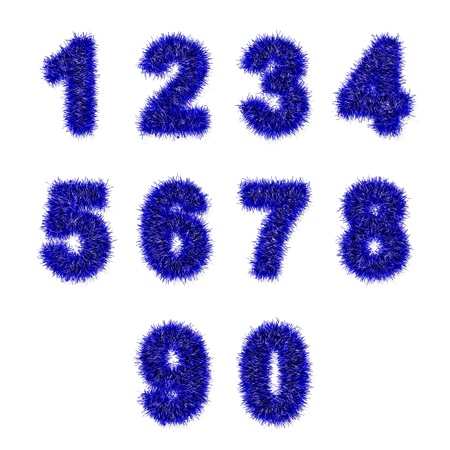 blue tinsel digits on white background photo