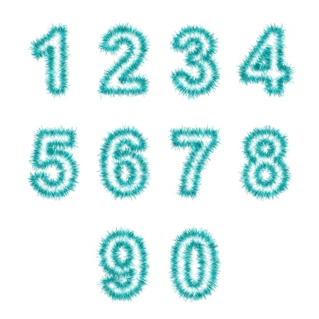 0 1 year: light blue  tinsel digits on white background Stock Photo