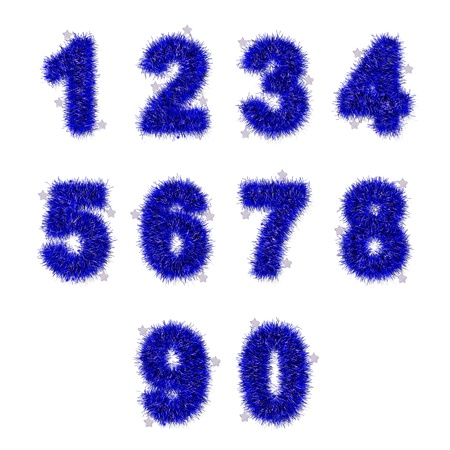 blue tinsel digits with star on white background photo