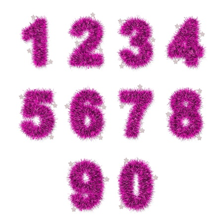 pink tinsel digits with star on white background photo