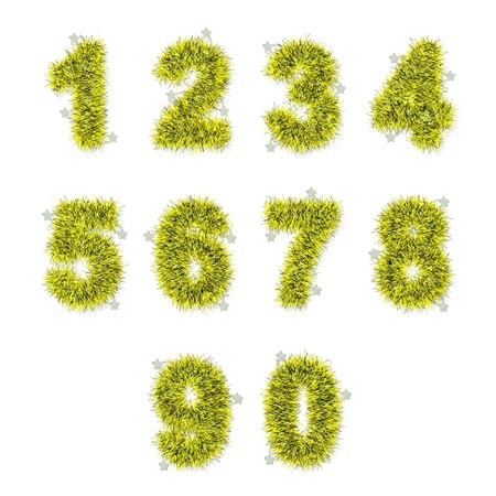 yellow tinsel digits with star on white background Stock Photo - 14497816