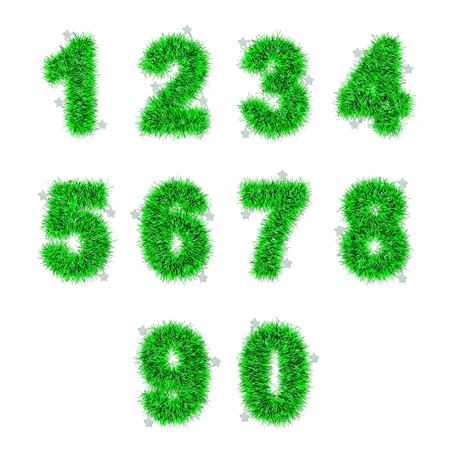 green tinsel digits with star on white background photo
