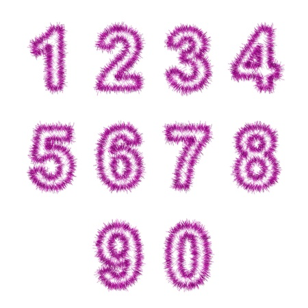 6 9 years: pink tinsel digits on white background Stock Photo