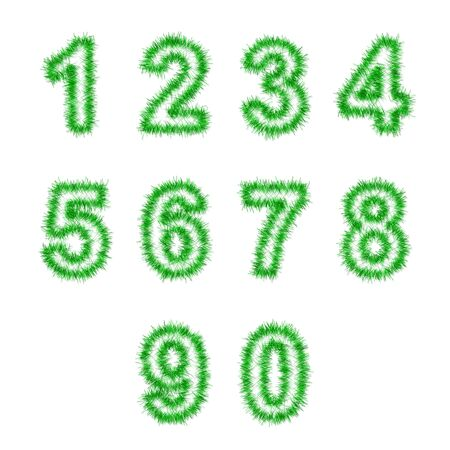 green tinsel digits on white background photo
