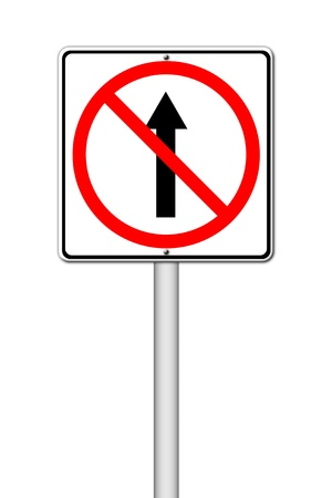 No go ahead the way ,No forward sign on white Stock Photo - 14535975