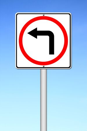left turn road sign over blue sky photo