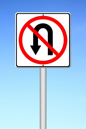 No return back road sign over blue sky Stock Photo - 14535995