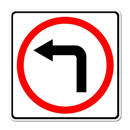 left turn road sign on white background photo