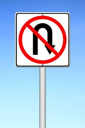 no u turn sign: No return back road sign over blue sky Stock Photo