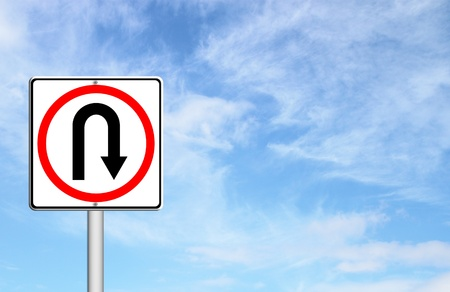 Turn back road sign over blue sky blank for text Stock Photo - 14609947