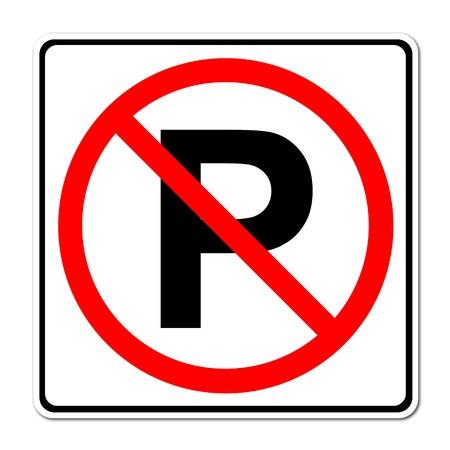 se�al parking: No hay se�ales de estacionamiento en el fondo blanco Foto de archivo