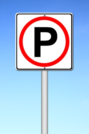 Parking sign over a blue sky photo