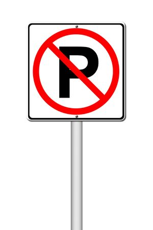 No parking sign on white background photo