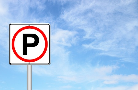 Parking sign over blue sky blank for text photo
